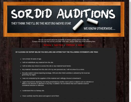 Sordid auditions, sordidauditions.com